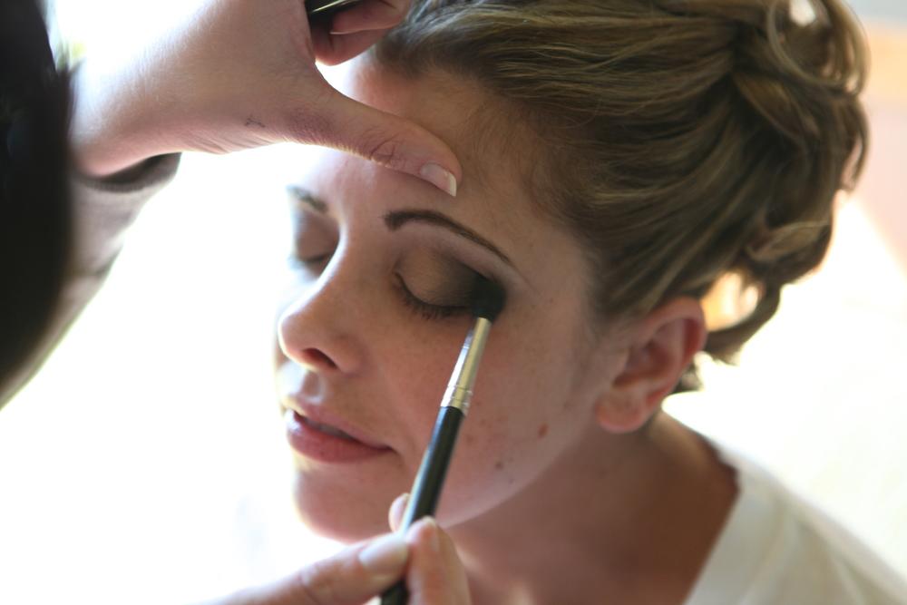 Bridal smokey eye for blondes; makeup by top Washington DC makeup artist Brigid Wilson on Fortique