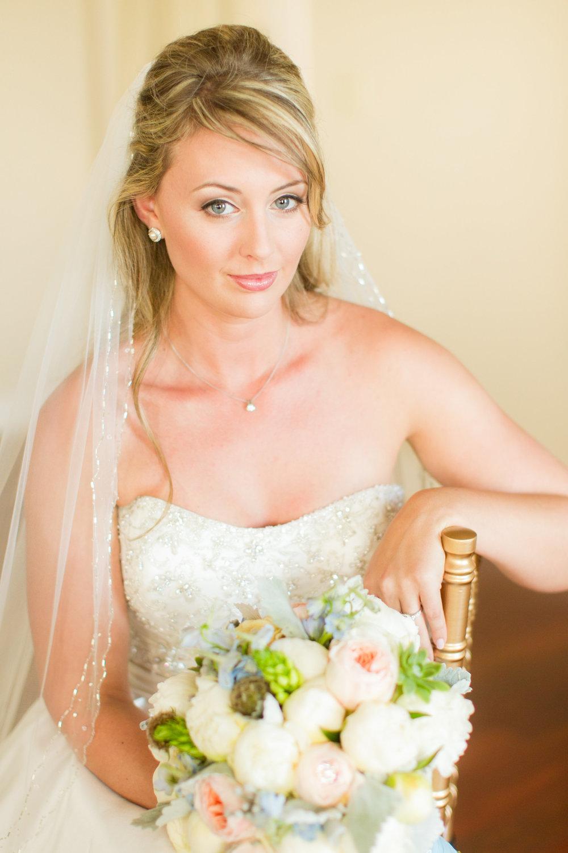 Natural bridal makeup for blonde with half updo; wedding makeup by top Washington DC makeup artist Brigid Wilson on Fortique