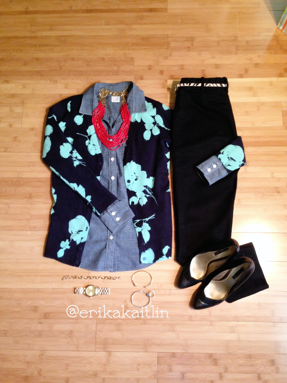 Update your corporate style with pencil skirt, black heels, teal floral cardigan, chambray shirt, coral statement necklace; styled by top Washington DC stylist Erika Holt