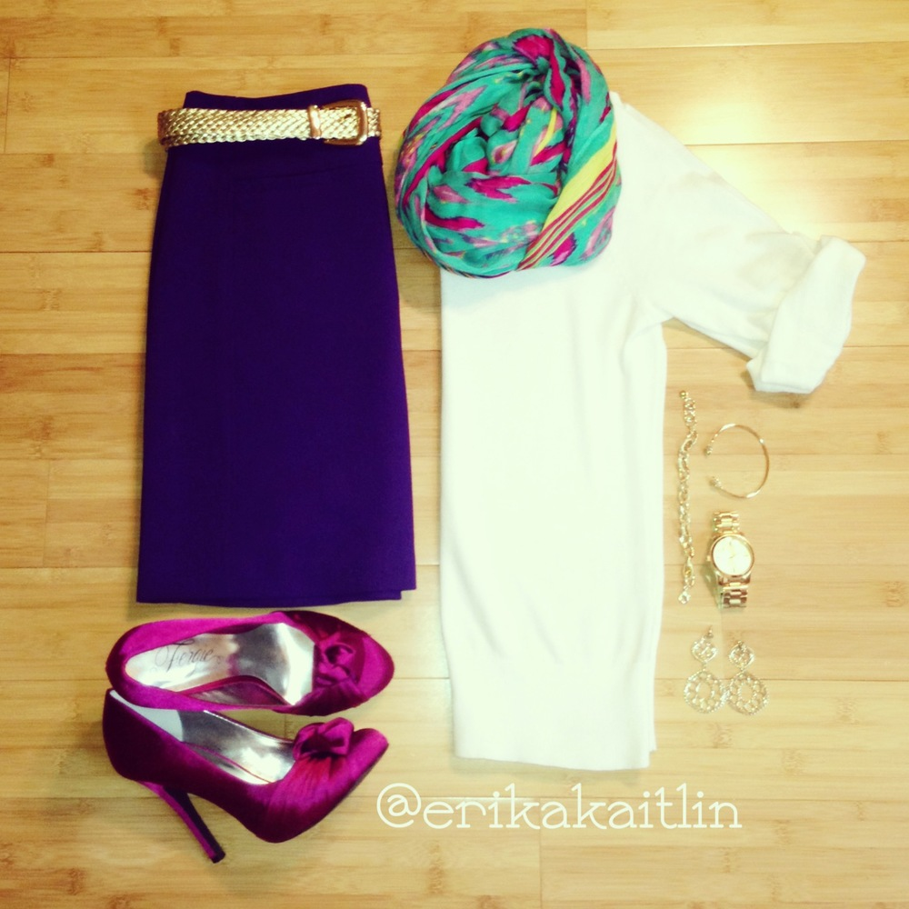 Affordable casual style featuring white cardigan, royal purple skirt, gold braided belt, teal and pink scarf, pink satin pumps; styled by top Washington DC stylist Erika Holt