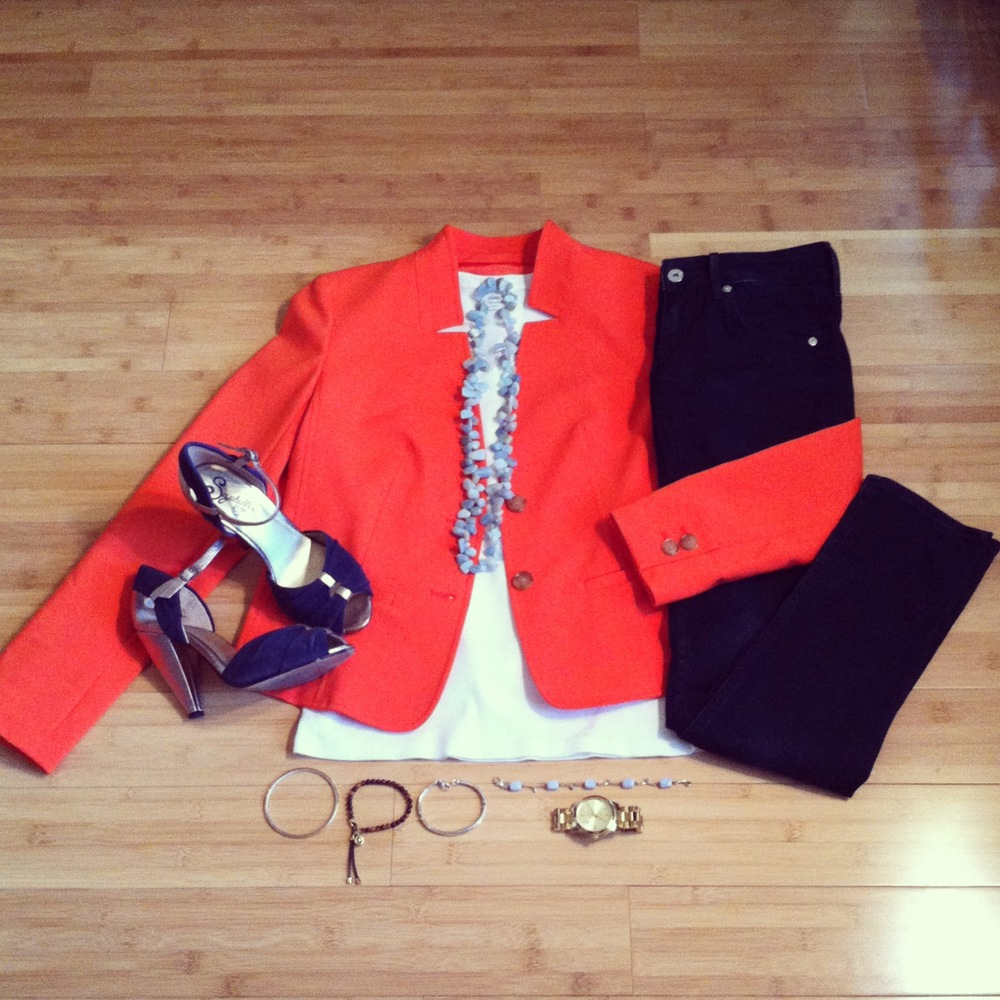 Colorful personal style with orange blazer, patent heels; styled by top Washington DC stylist Erika Holt