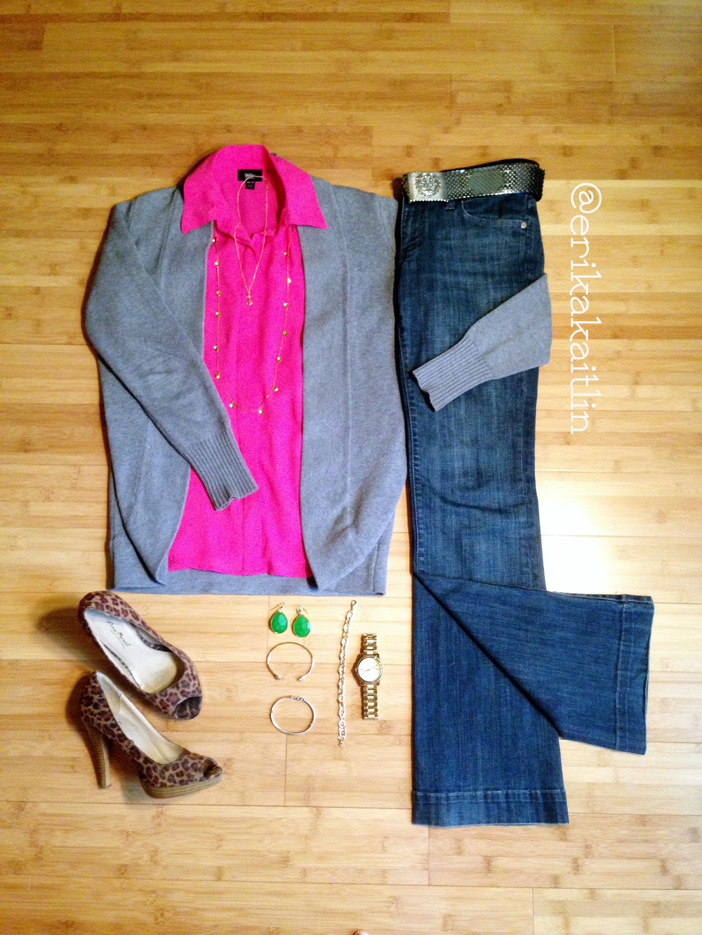 Casual denim style featuring hot pink button down, grey cardigan, leopard heels; styled by top Washington DC stylist Erika Holt