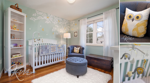 Pale mint, yellow, and blue gray owl nursery design; designed by Washington DC interior designer Olios Design on Fortique
