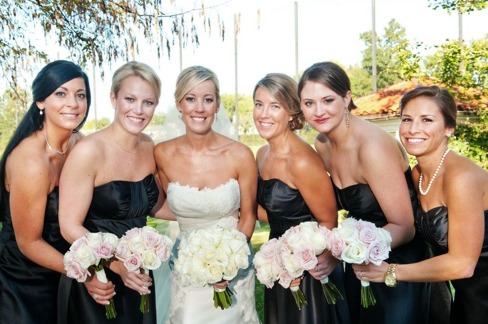 Stunning wedding makeup for blonde bride and black bridesmaids' dresses by Washington DC wedding makeup artist Stacy Ferguson on Fortique