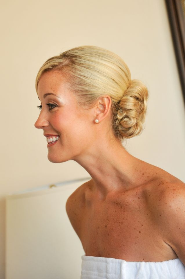 Natural bridal makeup for blonde bride; low bun wedding hair idea; wedding makeup by Washington DC wedding makeup artist Stacy Ferguson on Fortique
