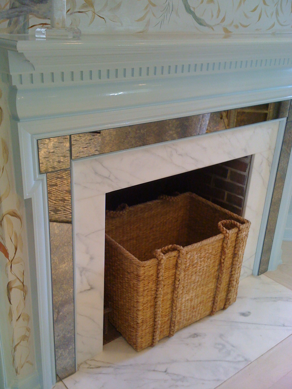Fireplace Decor Idea - Whicker Basket