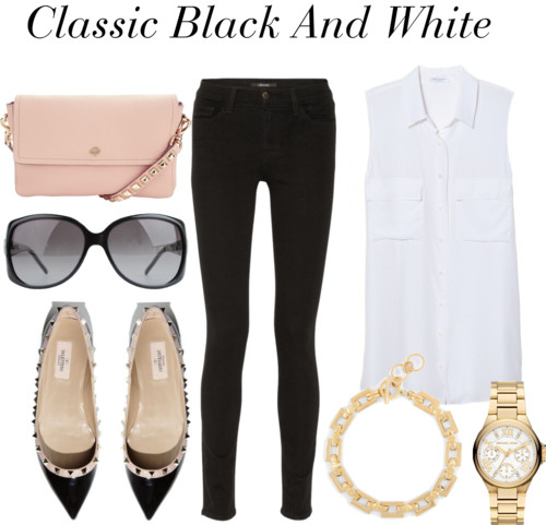 Classic Black and White look - black skinny jeans, white sleeveless button down, studded flats, light pink clutch styled by top Washington DC stylist Naina Singla on Fortique