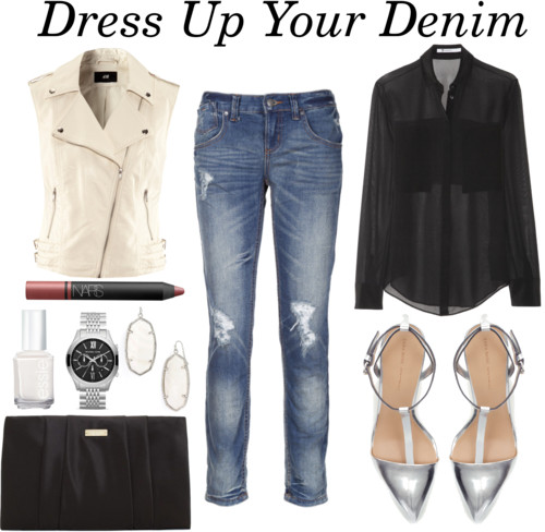 How to dress up your denim with sheer black button down, asymmetric zip vest, silver heels styled by top Washington DC stylist Naina Singla on Fortique