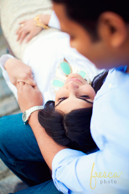Engagement shoot featuring teal accent necklace, white button down styled by top Washington DC stylist Naina Singla on Fortique