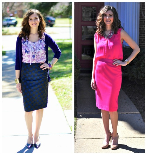 Corporate styles featuring hot pink dress, purple cardigan, purple blouse styled by top Washington DC stylist Naina Singla on Fortique