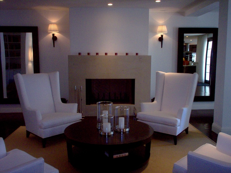 Fireplace idea - wicker basket; designed by Washington DC interior designer Decor Dose on Fortique