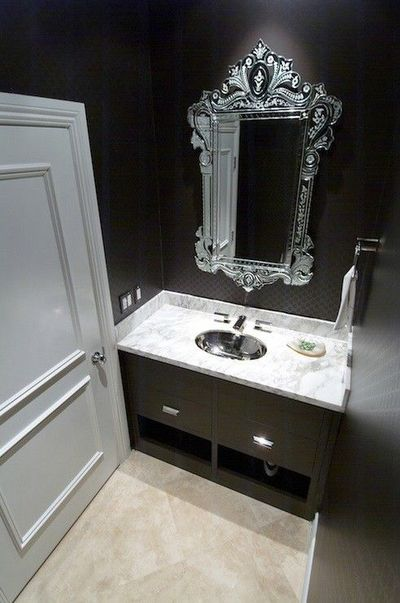 Dark Powder Room Interior Design