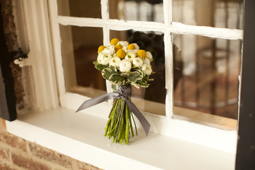 Sweet and simple white and yellow bridal bouquet by Washington DC floral designer Kate Farrington of Rally & Root on Fortique