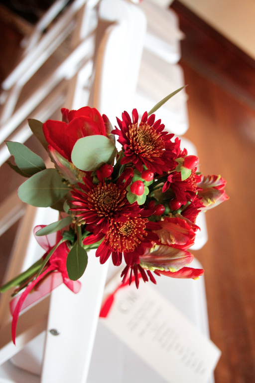 Firey red and green wedding bouquet by Washington DC floral designer Kate Farrington of Rally & Root on Fortique
