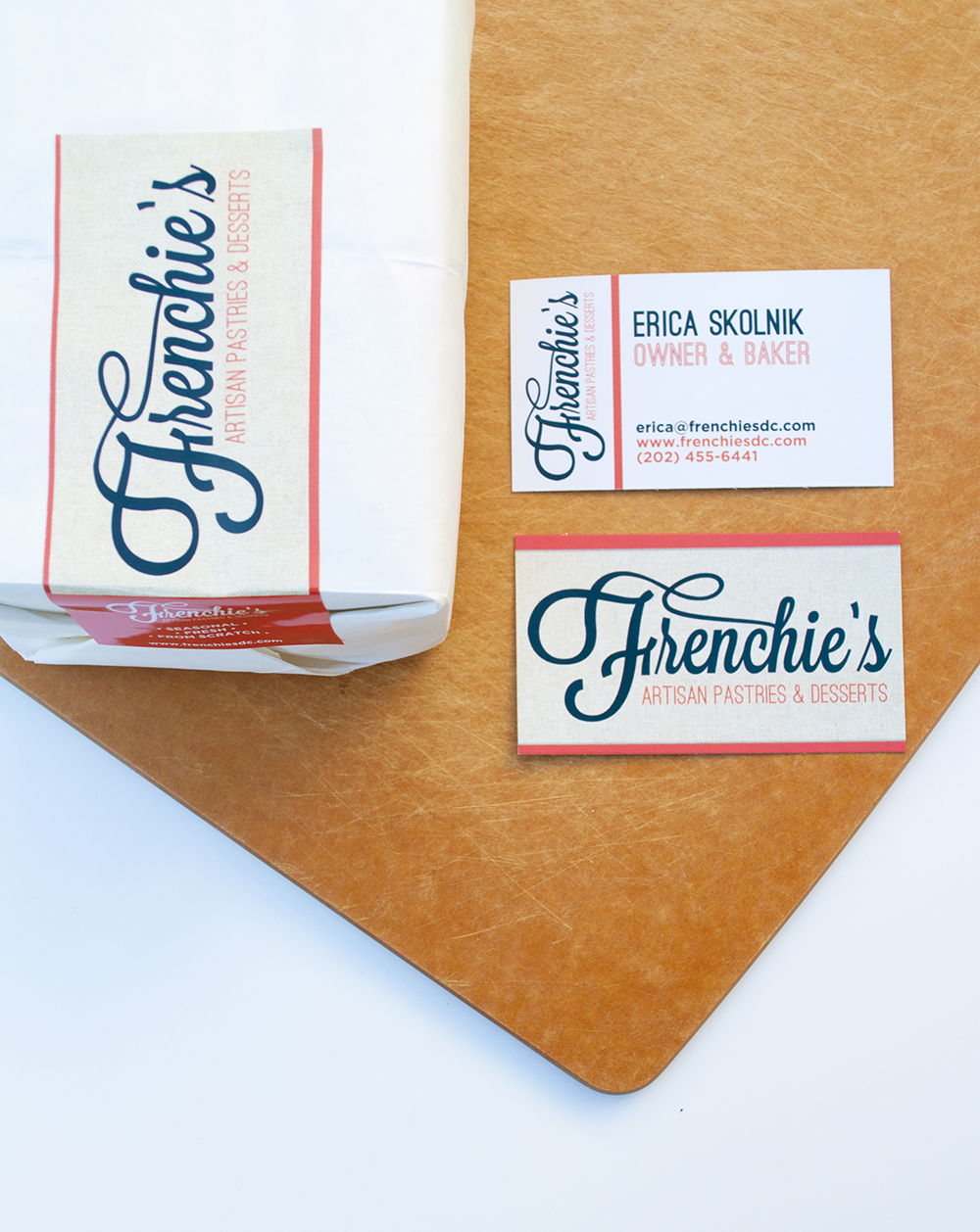 Frenchie's cursive font logo; branding package with business card, labels; designed by Washington DC graphic designer Cherry Blossom Creative on Fortique