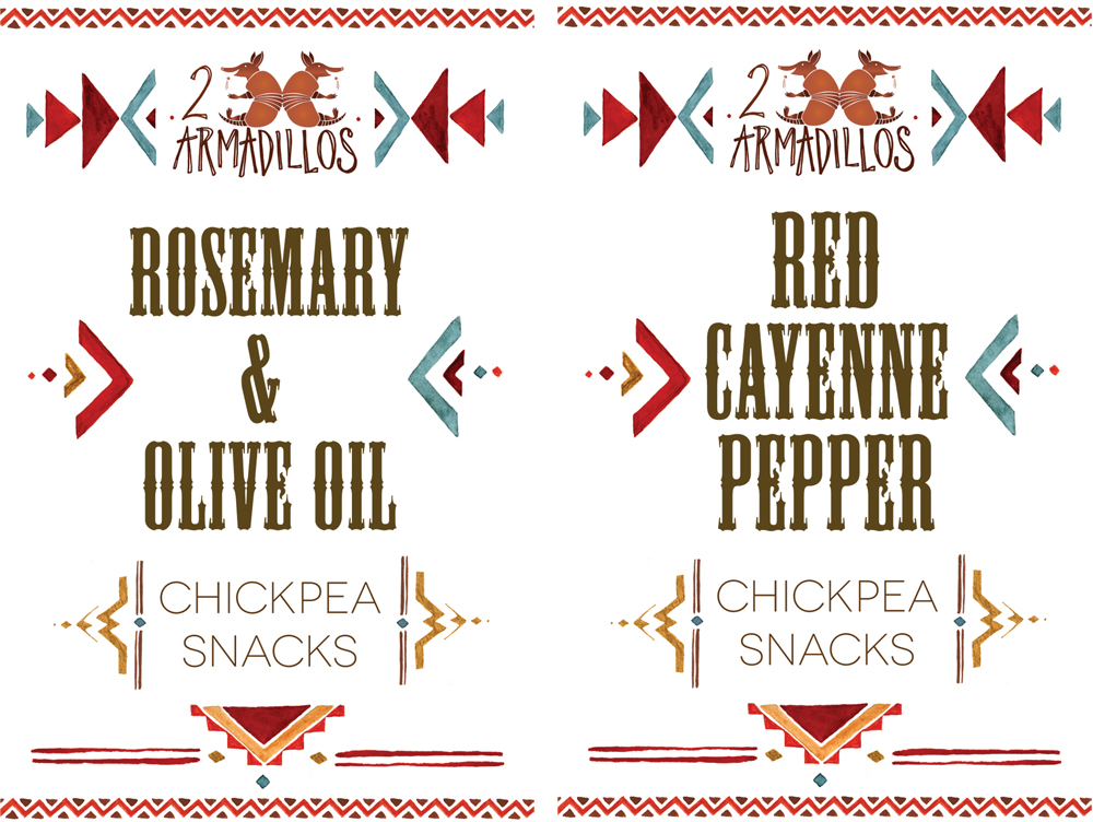 2 Armadillos Chickpea Snacks red and teal branding designed by Washington DC graphic designer Cherry Blossom Creative on Fortique