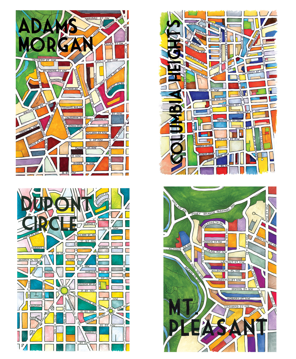 Bright city map illustrations of Adams Morgan, Columbia Heights, Dupont Circle, and Mt. Pleasant illustrated by Washington DC graphic designer Cherry Blossom Creative on Fortique