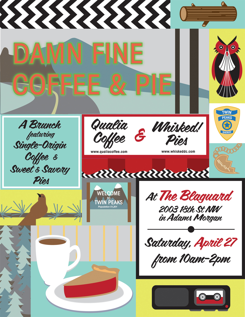 Damn Fine Coffee & Pie illustrated invitation by Washington DC graphic designer Cherry Blossom Creative on Fortique