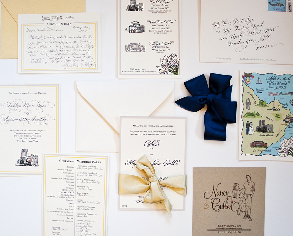 Custom gold and blue wedding stationary illustrated by Washington DC graphic designer Cherry Blossom Creative on Fortique