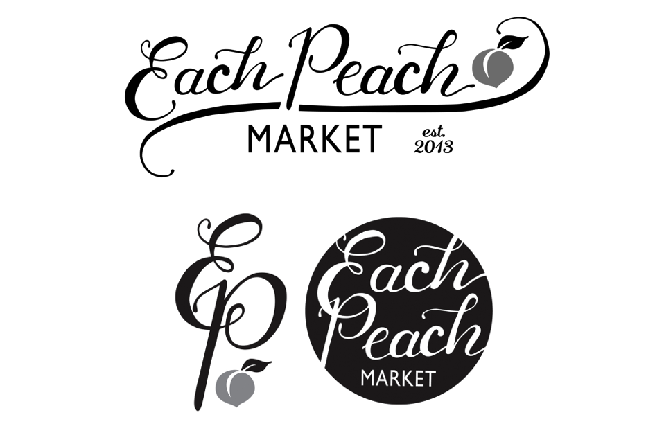 Each Peach market custom font logo; designed by Washington DC graphic designer Cherry Blossom Creative on Fortique