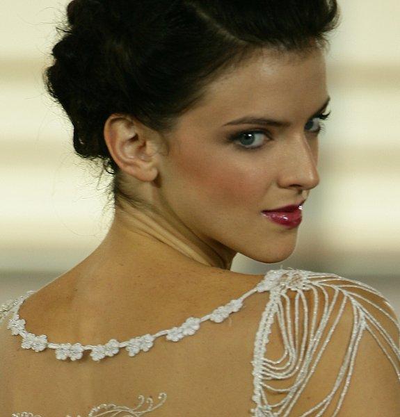 Wine lip and smokey eye for dark brown hair by top Washington DC wedding makeup artist Julie Wardley