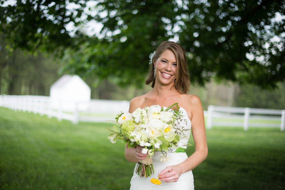 Natural wedding makeup for blonde with yellow and white bouquet, green sash by Washington DC makeup artist Julie Wardley