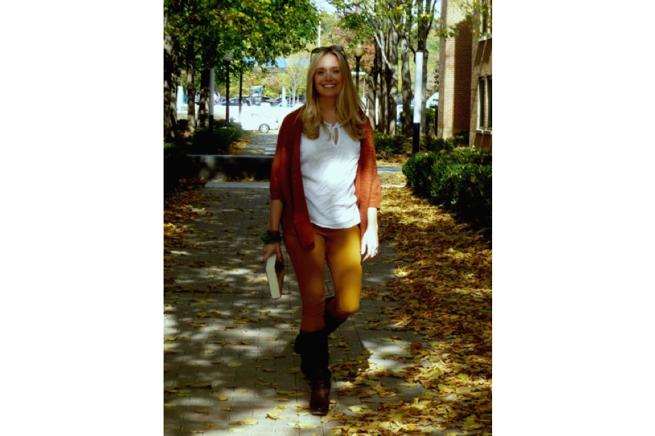 Casual fall style featuring yellow jeans, riding boots, cardigan styled by Washington DC stylist Patty Chism