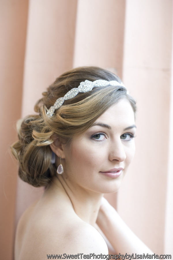 Natural makeup for light brown hair; low side updo with beaded headband; wedding hair and makeup by top Washington DC bridal makeup artist Alison Harper & Co on Fortique