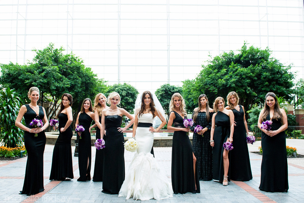 Bridal hair and makeup for black bridesmaids dresses, purple flowers, black sash; wedding hair and makeup by top Washington DC bridal makeup artist Alison Harper & Co