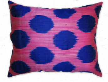 Blue and Pink Ikat Pillow