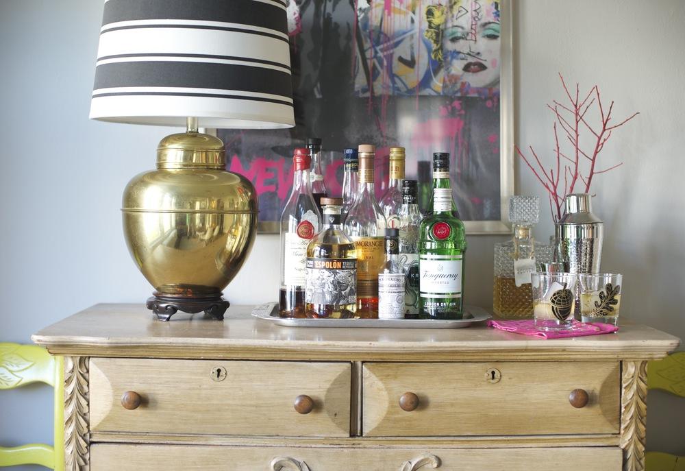 "Bar ""cart"" dresser; designed by Washington DC interior designer The Casa Pino on Fortique"