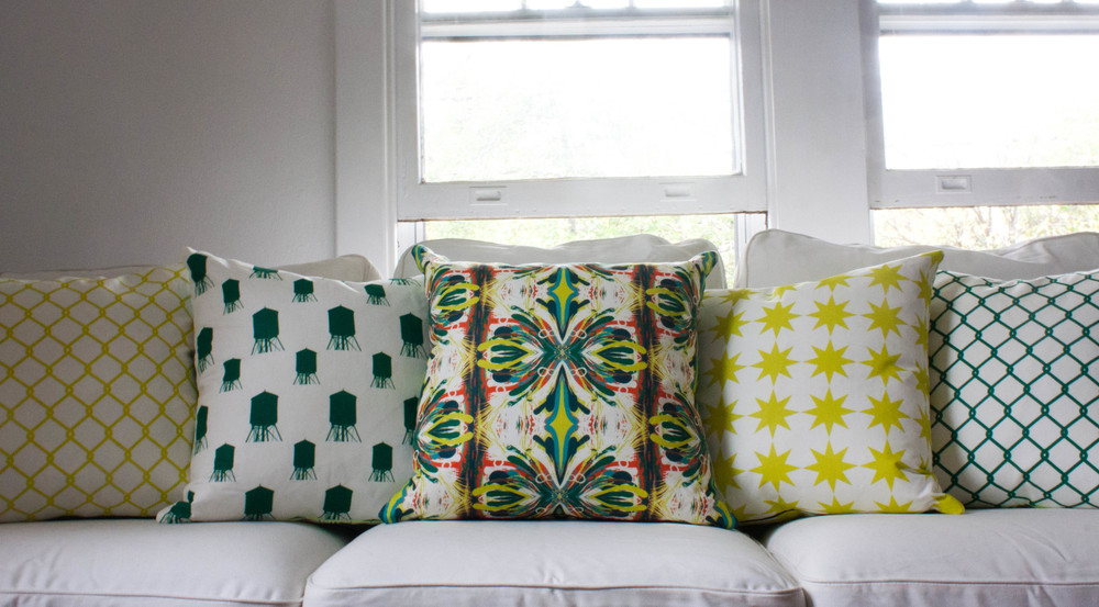 Bright lime green, teal, pink throw pillows; textiles designed by Washington DC interior designer The Casa Pino on Fortique