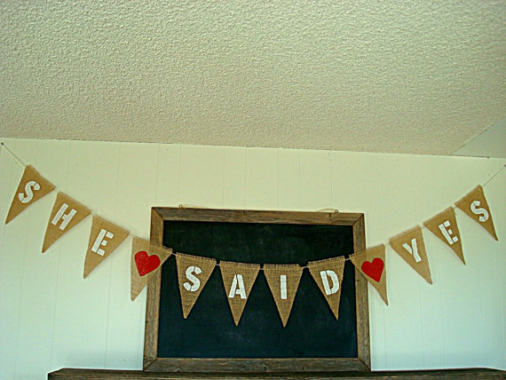 """She Said Yes"" Burlap Banner"