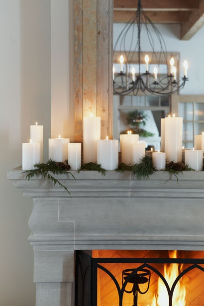 Easy Holiday Decor - Candles & Greenery