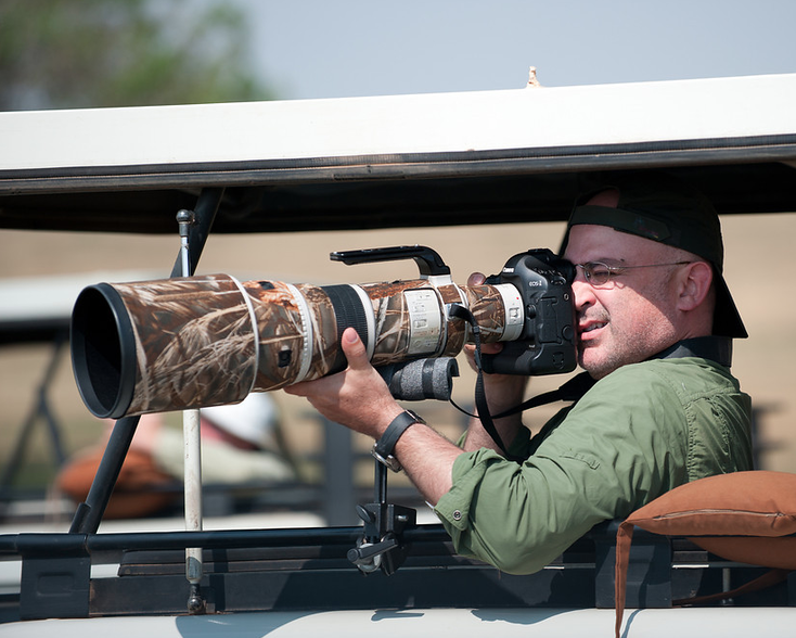 Wesley shooting in the Serengeti.