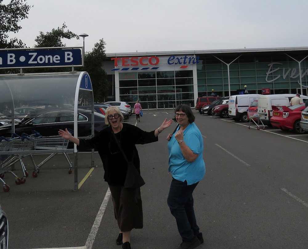 Hello Tesco! Norah and I prepare to begin our shopping tour of the UK.