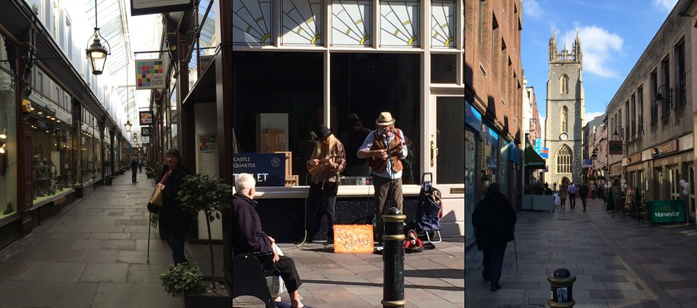 Three scenes of Cardiff City Centre:  from left - down an arcade, street buskers, view down to St. John's Church