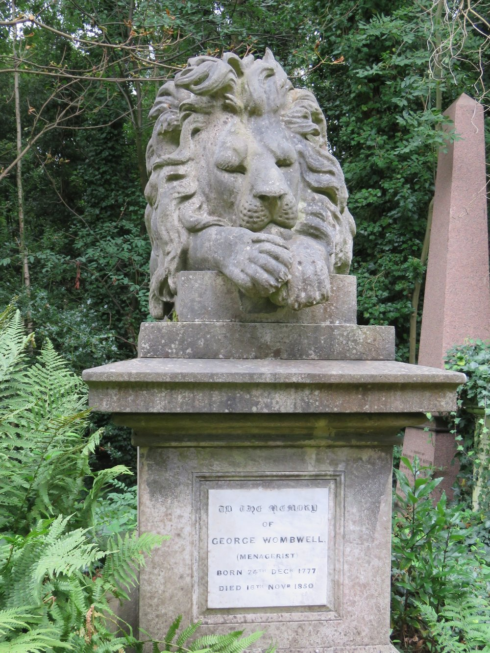 This man owned many traveling menageries - perhaps the lion looks content because he ate his master???