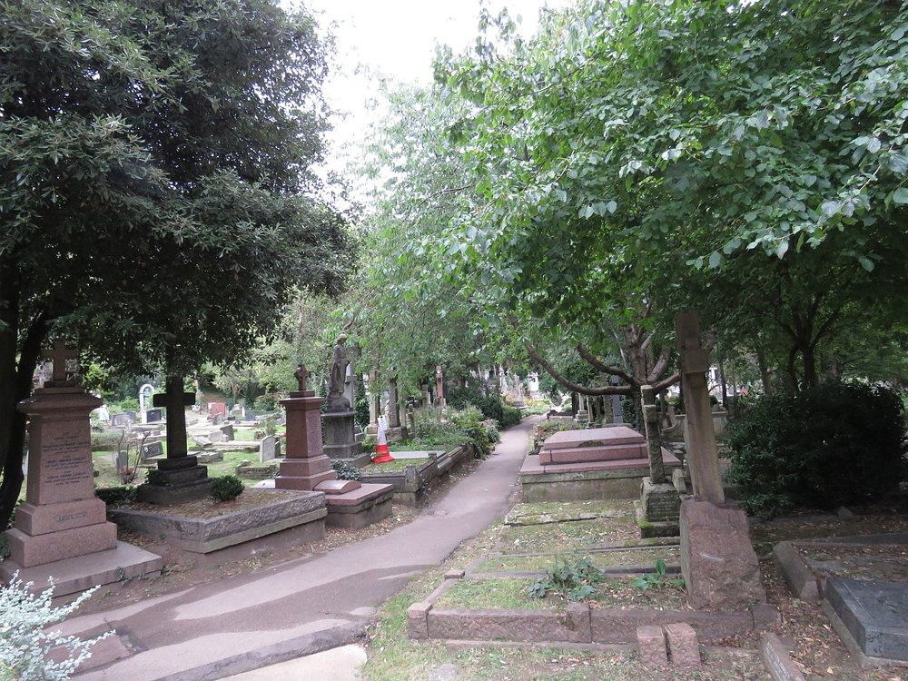 Down a path on the west side of the cemetery, where many the famous communists, including Karl Marx, are buried.  We didn't pay them a visit.