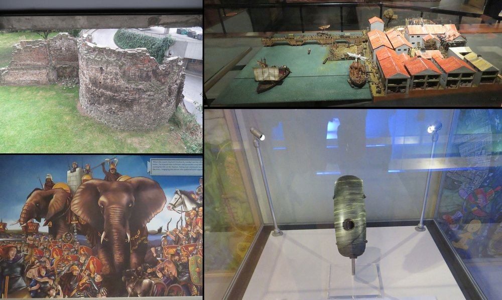 From the Museum of London, clockwise from upper left:  view of the Roman city wall, first bridge over the Thames, wooden pontoons that floated with the tide, polished mace-head (probably sacrificial) found in the Thames, elephants used by Romans conquering the Celts - like Pizarro and the Incas only bigger and scarier than horses.