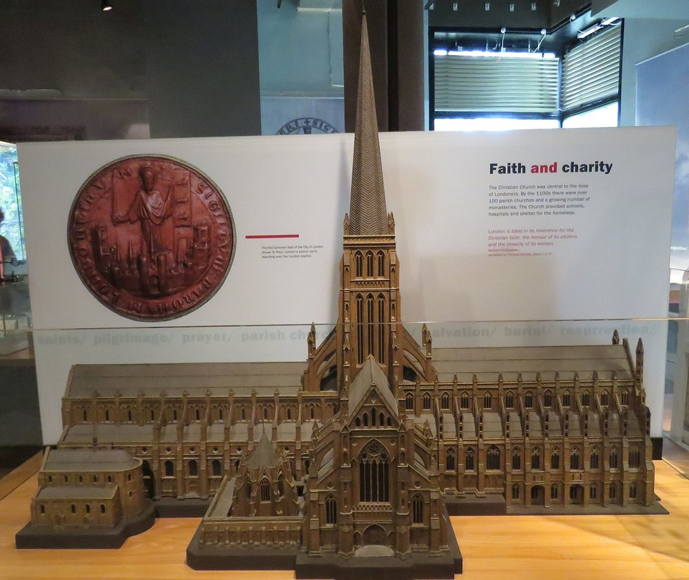 Model of the St. Paul's Cathedral prior to the fire.  Note the early Romanesque small original churches on the left.  The new cathedral, which will you see in future photos, was designed by Christopher Wren and is huge and austere, not Gothic.