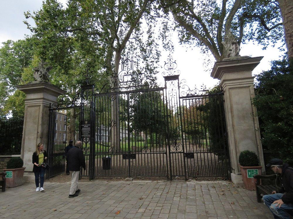Entrance to Gray's Inn Garden.  Public is allowed entry at midday.  Lovely urban oases.