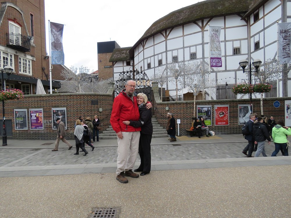 In front of Shakespeare's Globe Theatre - more photos follow the post