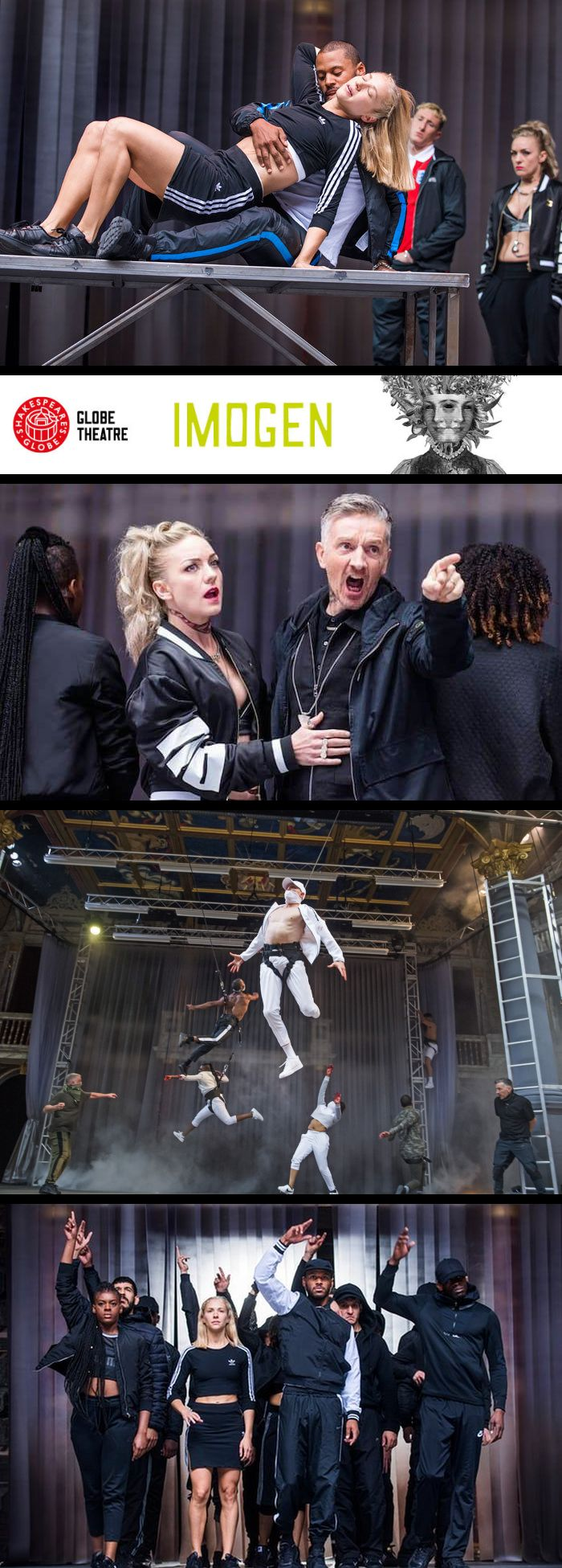 Montage from Imogen:  Imogen and her husband, Posthumus; King Cymbeline and the Queen; war scene effectively used flying to give more action on the small stage; the ensemble.