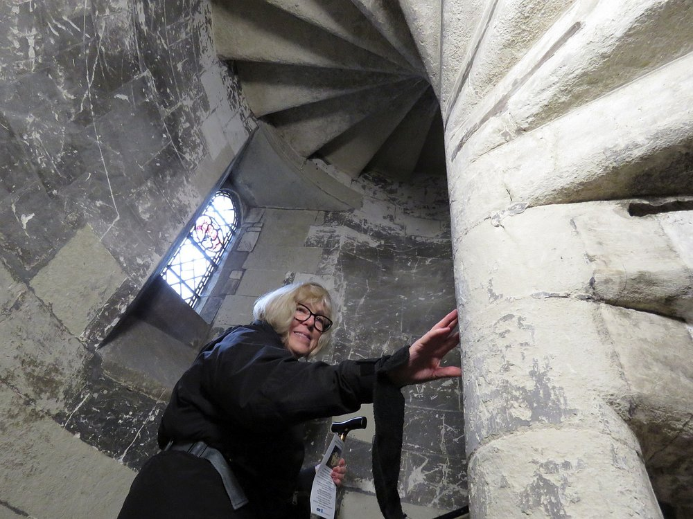 Heading up the ancient stairs at Temple Church.  Unfortunately, nothing much at the top.  More photos follow the post.