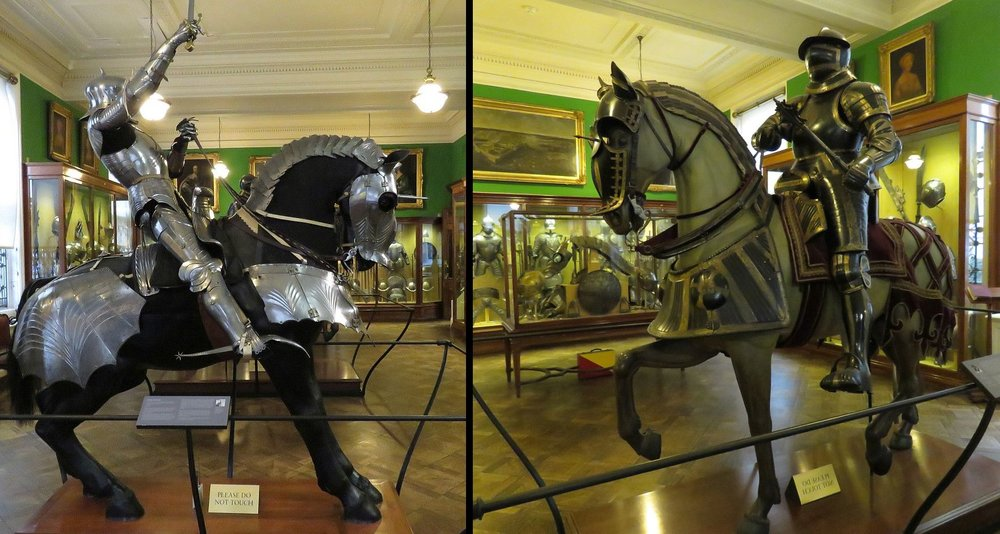 Whoa, Nellie!  Knights and horses outfitted for battle and jousting.