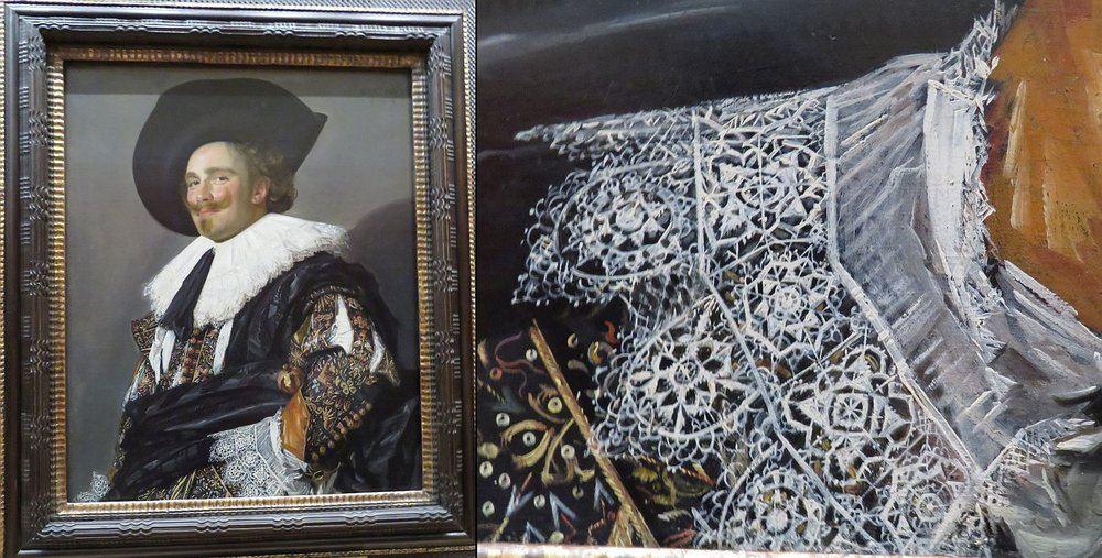 This guy, The Laughing Cavalier by Frans Hals, just greets you as you wander through a gallery.  Look at the brush work in this lace cuff.  Ah, the Dutch painters of the Golden Age!