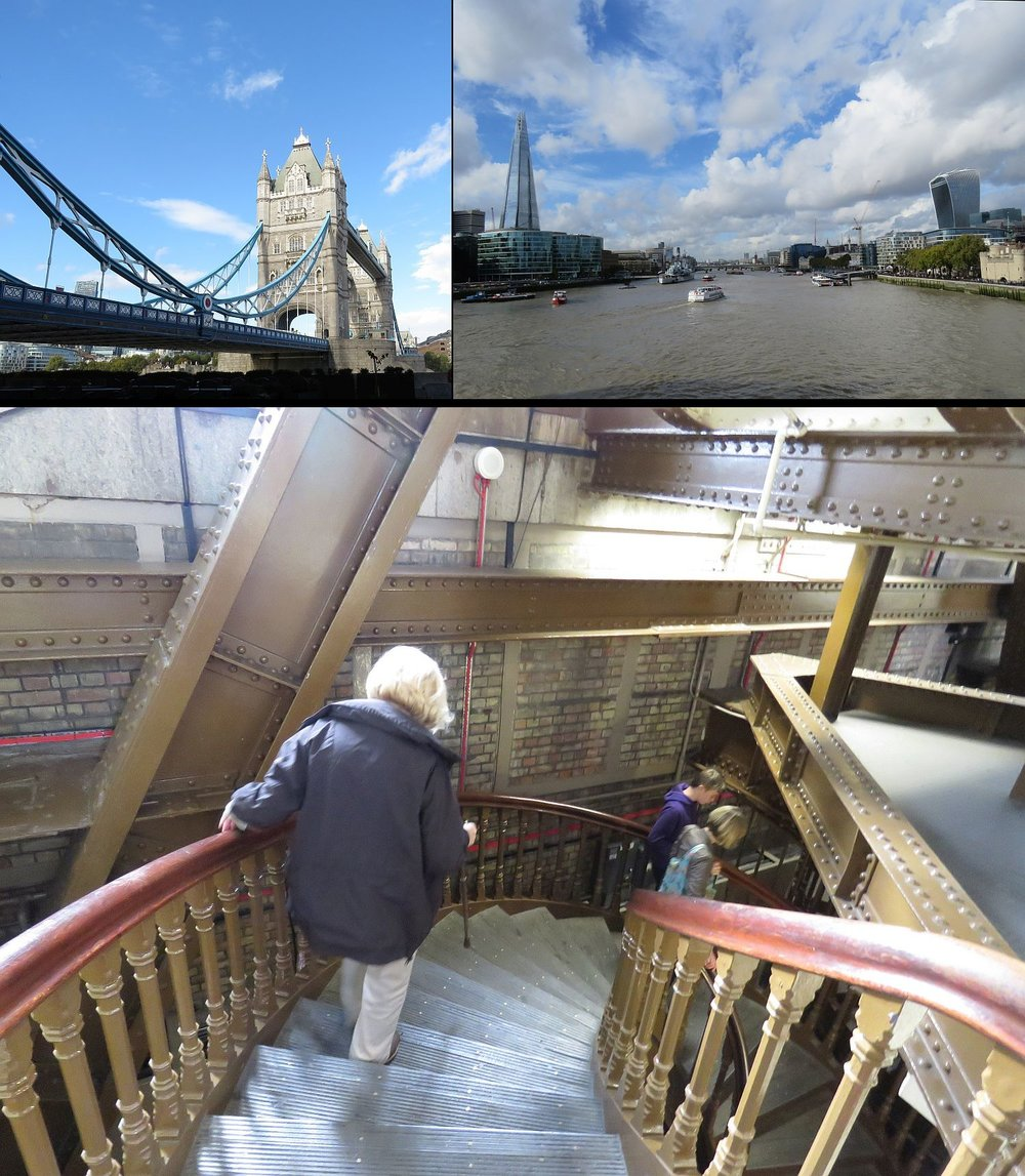 Tower Bridge; The Shard highrise on the north side of the Thames, 40 Fennchurch on the south; down the stairs inside of Tower Bridge.