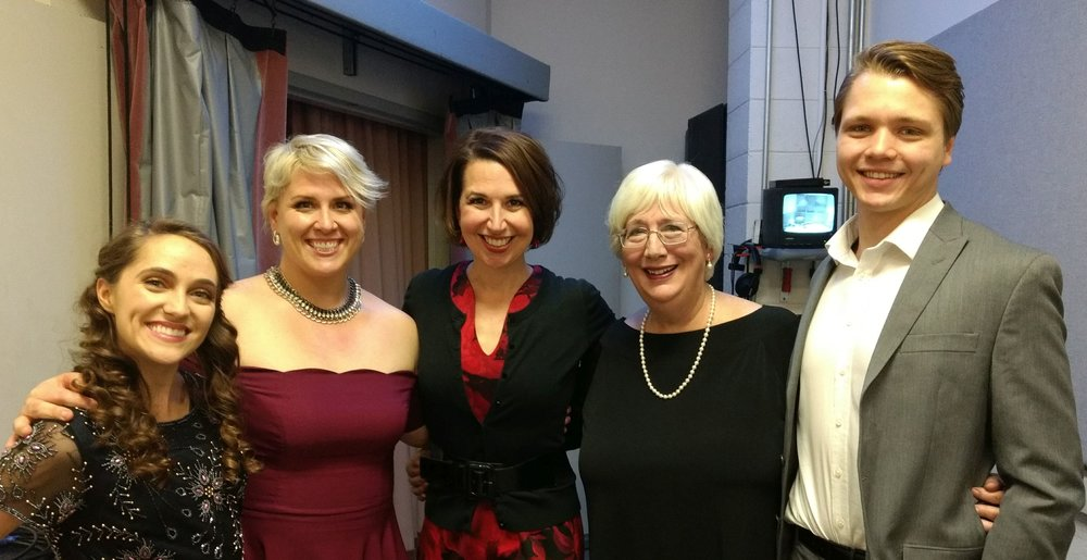From left: Brianna Bernhart, coloratura soprano, Kaitlin Bertenshaw, soprano, Professor Kristin Dauphinais, Bonnie Bird, pianist, and Matthew Osvog, baritone - all from the UofA
