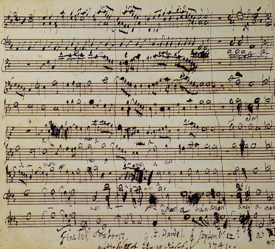 Original of Handel's score - note that almost all notes are on the top line or above the staff.